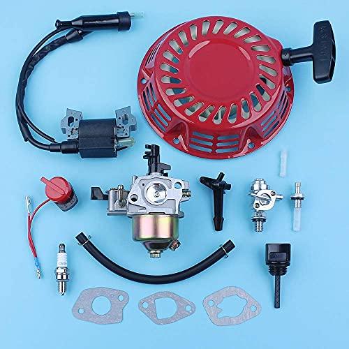 Carburador Bobina de encendido Interruptor de encendido/apagado Kit de varilla de estrangulación compatible con Honda GX160 5.5HP GX200 6.5HP 168F 170F Bomba de agua del generador
