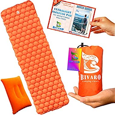 BIVARO Ultralight Sleeping Pad for Backpacking -Travel and Hiking + Lightweight Pillow + Ebook • Complete Bundle. Waterproof Camping Mattress Best for Sleeping Bag,Hammock and Tent. New Model Orange