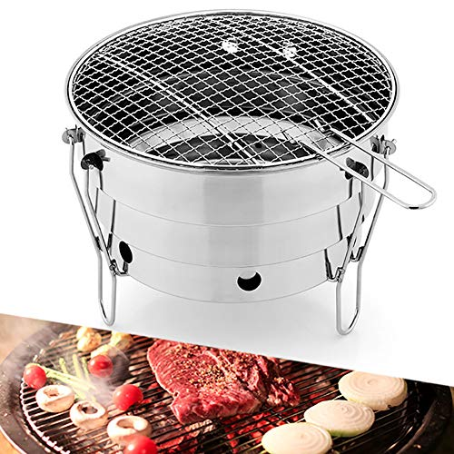 LXVY Barbecue Grill, Außen Edelstahl Tragbare BBQ Camping Picknick-Grill-Holzkohle