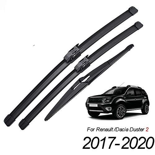 HZHAOWEI Escobillas de limpiaparabrisas Delanteras y traseras, para Dacia Renault Duster MK2 2017 2018 2019 2020 Parabrisas Ventana de Parabrisas 24