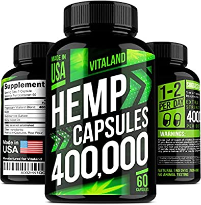 Hemp Oil Capsules 400,000 - Efficient Pain, Stress & Anxiety Relief - 100% Premium Hemp Oil - Anti Inflammatory - Sleep & Mood Support - Omega 3, 6, 9 from VitaLand