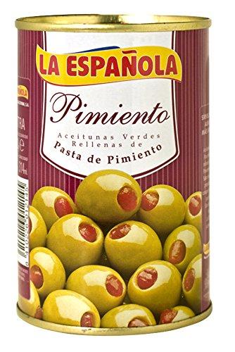 grüne Oliven mit Paprikapaste gefüllt