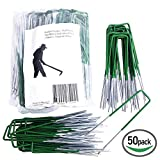 <span class='highlight'><span class='highlight'>HiFuture</span></span> [50PCS Artificial Grass Pins Staples Garden Stakes Galvanized Landscape Staples U-Type Turf Staples Stakes for Securing Fences Weed Barrier Wires Cords Tents Tarps Impart Amiable