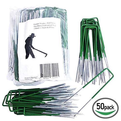 PROKTH 50PCS Garden Pegs StakesSecuring Lawn Plant Support U-Shaped Nail Pins for Fixing Sunshade Nets,Tents,Landscape Grass,Grass Stakes