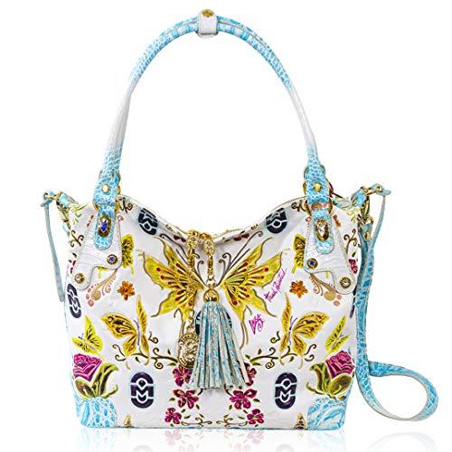 Marino Orlandi Women's Large Handbag Italian Designer Crossbody Bag Purse Handpainted White Genuine Leather Top Handle Hobo Satchel in Butterfly Design with Swarovski and Tasssel