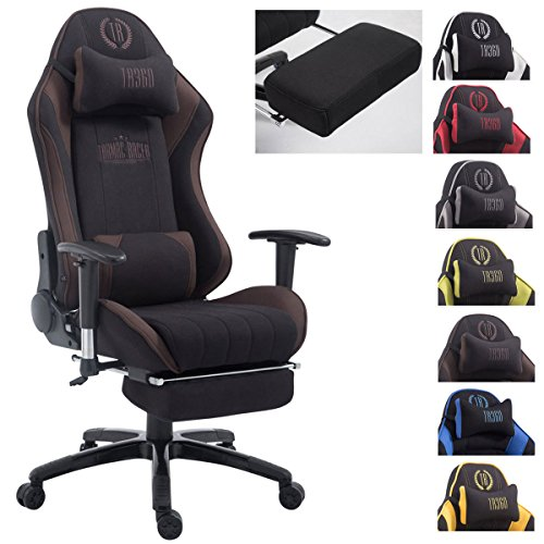CLP Silla Gaming XL Shift V2 En Tela I Silla Gamer con 2 Cojines I Silla Racing Acolchada I Silla De Ordenador Ajustable & Giratoria I Color: Negro/marron, con reposapies