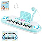 Costzon 37 Keys Electronic Keyboard Piano for Kids, Portable Musical Keyboard with Rhythm Light, Microphone, Recording, Music Stand, 8 Tone Keys, 4 Percussion Instruments (Blue)