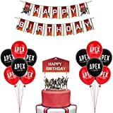 Video Game Party Supplies - APEX Party Decoration Pack with Happy Birthday Banner, 10 APEX Balloons, a APEX Legends Cake Topper, Great for KIds Birthday Party