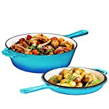 2-In-1 Cast Iron Multi-Cooker – Heavy Duty Skillet and Lid Set,...