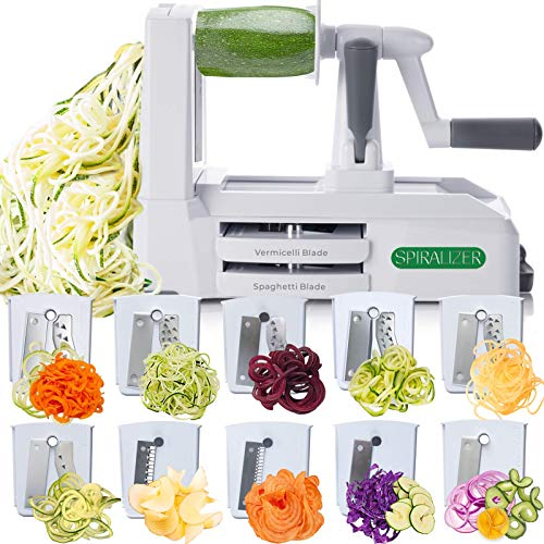 Spiralizer Ultimate 10 Strongest-and-Heaviest Duty Vegetable Slicer Best Veggie Pasta Spaghetti Maker for Keto/Paleo/Gluten-Free, With Extra Blade Caddy & 4 Recipe Ebook Color White