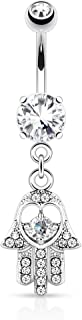 Hamsa Hand with Cz Accebts Dangle Belly Button Ring - 316L Surgical Steel 14g Dangle Navel Ring - Choose Clear, Pink, or Aqua