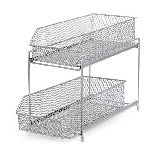 NEX 2 Tier Sliding Basket Organizer Drawer Organizer (Silver)
