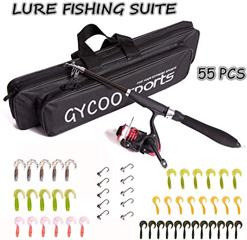 Gycoo Fishing Rod and Reel Combos Carbon Fiber Telescopic Fishing Rod Kit with Fishing Line, Fishing Lures,Carrier Bag for Beginner Adults Kids Saltwater Freshwater
