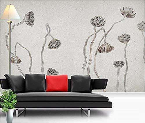Tinta pintada a mano Vintage Lotus estilo chino papel tapiz Pared Pintado Papel tapiz 3D Decoración dormitorio Fotomural de estar sala sofá mural-200cm×140cm