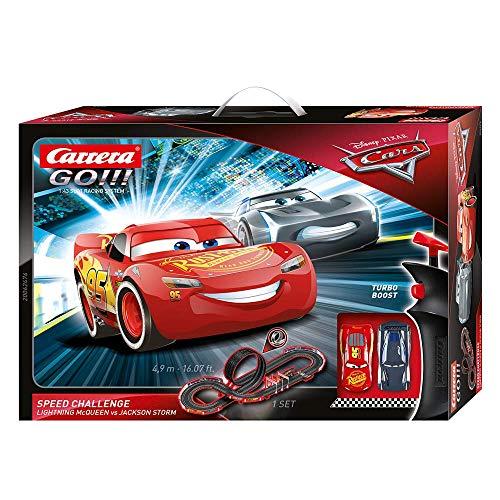 Carrera Toys GO!!! Disney Pixar Cars Speed Challenge Set Pista da Scontro e Due Macchinine con Saetta Mcqueen e Jackson Storm, Gioco Adatto per Bambini dai 6 Anni, Multicolore, 20062476