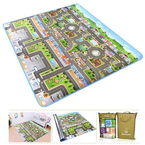Seciie Tapis de Sol Mousse Epais Tapis de Jeu Bébé Tapis de Circuit de voitures dans la ville Tapis Déveil pour Bébé Enfant, 200 x 180 x 0.5cm