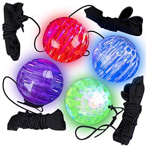 ArtCreativity Light-Up Orbit Wrist Balls, Set of 4, LED Balls with Flashing Lights and Elastic String, Wristband Toys for Indoor and Outdoor Play, Fun LED Birthday Party Favors for Boys and Girls