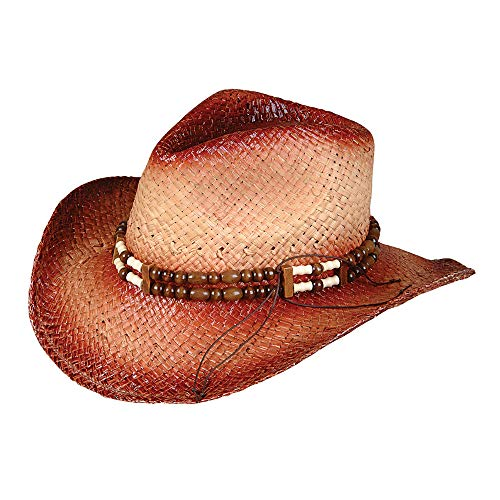 Rhode Island Novelty Rolled Up Costume Cowboy Hat with Beaded Band, One per Order