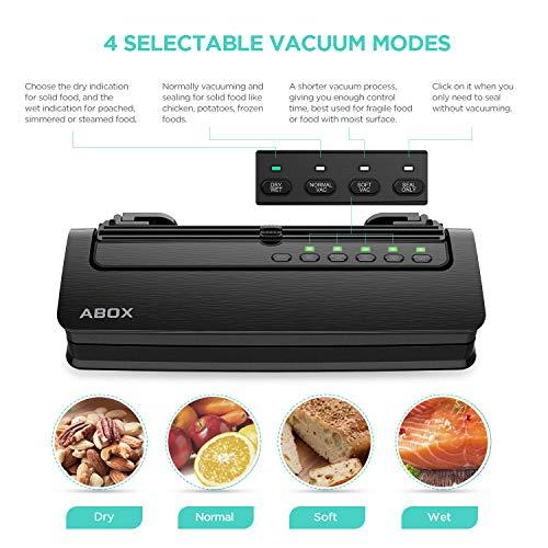 ABOX Vacuum Sealer Machine, 5 in 1 Food Vacuum Sealer, Built-in Cutter, Starter Kit Roll and Holder