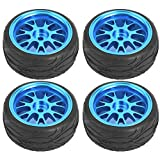 Drfeify Neumático Rueda Camión RC, Neumáticos de Metal Azul RC Ruedas de Llantas Actualizar Partes para WL 1/18 A959 A979 A969 RC Crawler Car