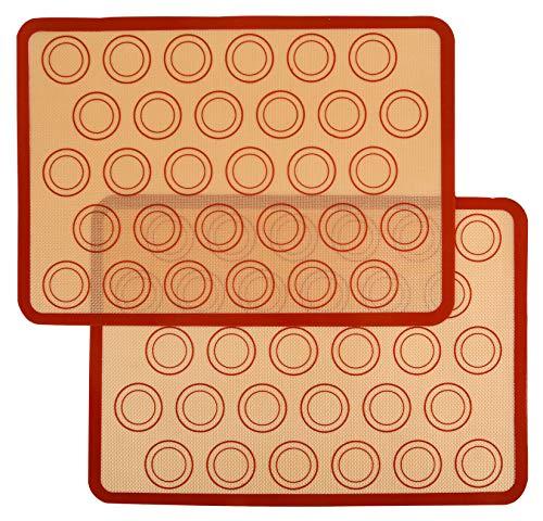 Uzifa Macaron Silicone Baking Mat - Set of 2 Non Stick Silicon Macaroon Baking Sheet Cookie Liner(BPA Free/Reusable/Half Sheet)
