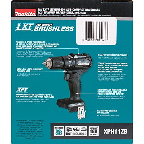 Makita XPH11ZB 18V LXT Lithium-Ion Sub-Compact Brushless Cordless 1/2