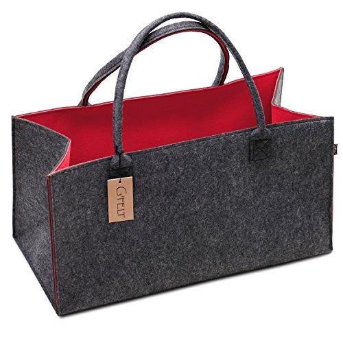 G\'FELT Filztasche Premium – als hochwertige Einkaufstasche, schicke Freizeit-Tasche oder Badetasche, Zeitungskorb, Filzkorb, Einkaufskorb, stabile Kaminholztasche - zweifarbig grau und rot
