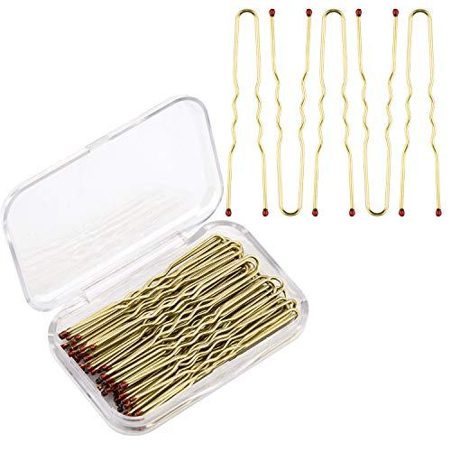 AIEX 200 Stück U-förmige Haarnadeln Kit Haarspangen Bobby Pins Haarspangen für Damen Mädchen und Friseursalon (Gold)