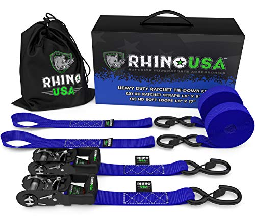 RHINO USA Motorcycle Tie Down Straps Steel Cambuckle Tiedown Set with Integrated Soft Loops Better Than a Ratchet Strap Lab Tested 3,328lb Break Strength 2 Pack