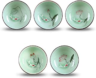 DELIFUR Porcelain Chinese Long-quan Celadon Teacup,kungfu Teacup, Fishes and Lotus Pattern,set of 5
