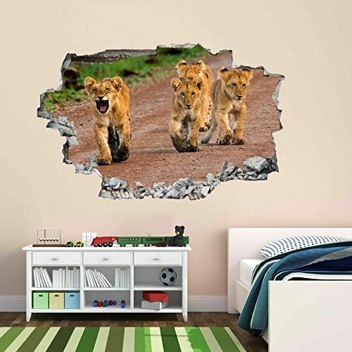 León Animales Etiqueta de la pared Mural Decal Kids CT2-3D - Mural impresión cartel decoración - 60x90cm