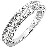 Dazzlingrock Collection 1.40 Carat (ctw) 14K Princess & Round Diamond Ladies Anniversary Wedding Band, White Gold, Size 7