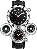 Mens Military Sports Quartz Wrist Watch Two Time Zone Compass and Thermometer Dial Leather Strap (Black)