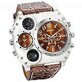 JewelryWe - Orologio sportivo in stile militare da uomo, al quarzo con duplice orario, con cinturino in pelle marrone scuro, ideale come regalo