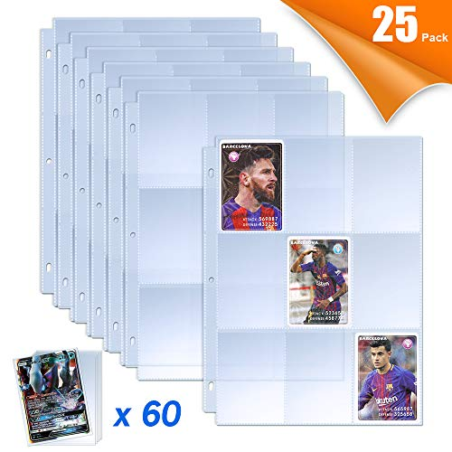 TAOPE 9 Pocket Trading Card Sleeves Pages Protector with 60 Pieces Trading Card...