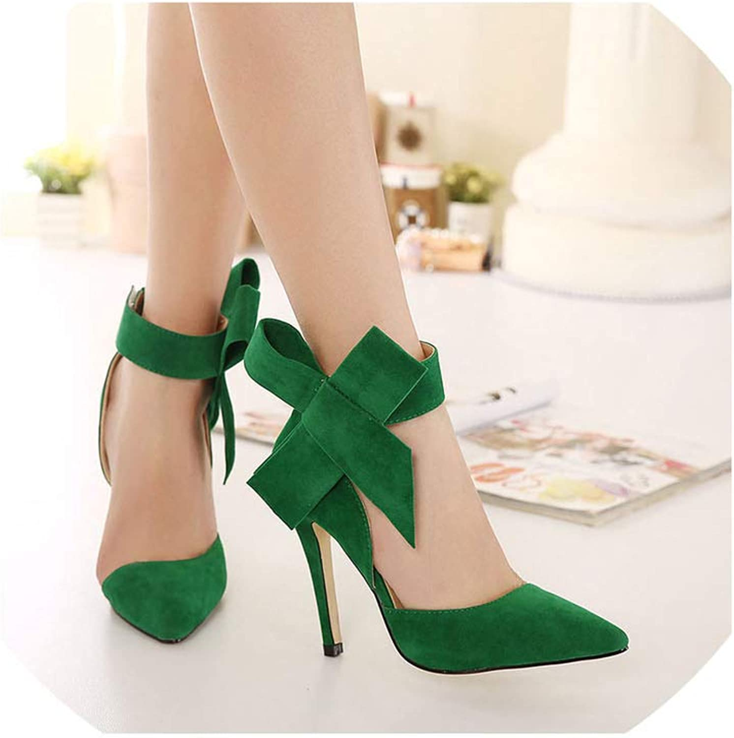 Axd-Home Fashion Sexy Big Bow Pointed Toe high Heels Sandals shoes Woman Ladies Wedding Party Pumps shoes