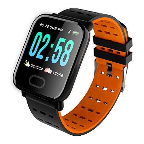 Sxgyubt Smartwatch, A6, Herzfrequenzmesser, Blutdruck, wasserdicht, Smartwatch, Uhr One Orange