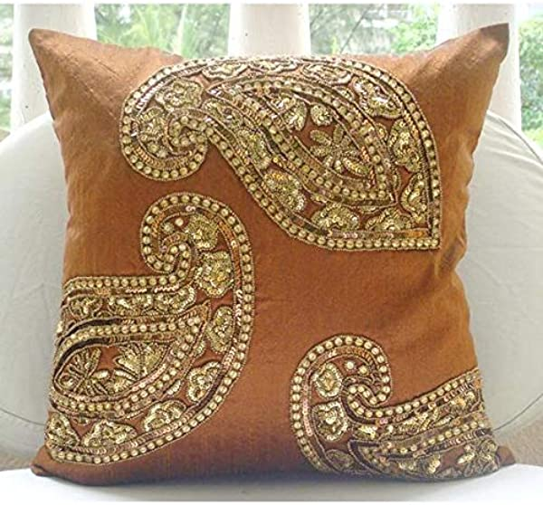 The HomeCentric Luxury Orange Cushion Covers Indian Paisley Traditional Antique Pillows Cover 20 X20 Pillow Cover Square Silk Pillows Covers For Couch Traditional Paisleys