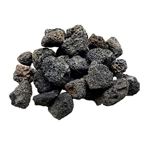 VILLCASE Piedra de Decoración de Acuario- Pecera de Roca Volcánica Negra Decorativa Paisajismo Roca Difusor de Aceite Esencial Piedra para Maceta Acuario Terrario Pecera 500G (2 a 3 Cm)