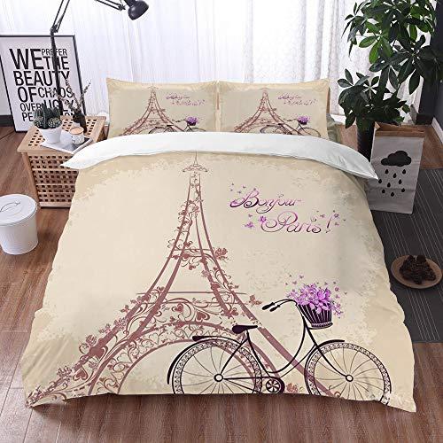 Bedding Juego de Funda de Edredón -Bonjour Paris Torre Eiffel y Bicicleta Vintage con Flores Retro Color Suave/Microfibra Funda de Nórdico (Cama 200 x 200 cm + Almohada 50X80 cm)