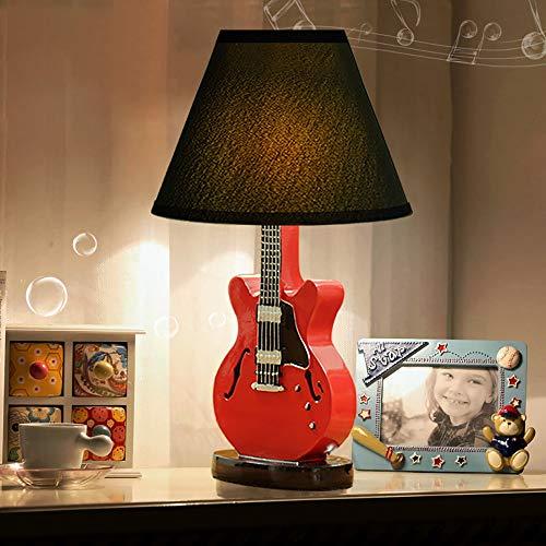 The only goede kwaliteit decoratie kinderkamer cartoon gitaar kleine bureaulamp slaapkamer bedlampje creatieve eenvoudige decoratie moderne warme rode tafellamp 23 * 38 cm