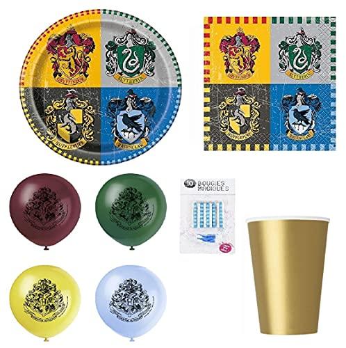 Kit compleanno Harry Potter 70 pezzi 16 bambini (16 piatti, 20 bicchieri, 16 tovaglioli, 8 palloncini + 10 candele magiche in omaggio) decorazione festa