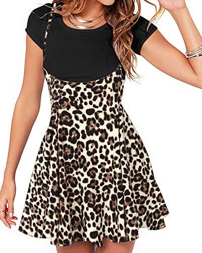 YOINS Rock Damen Mädchen Minirock Kawaii A Linie Mini Skater Rock Kleider für Damen Minikleid Skaterkleid,Leopard-hellgelb,S