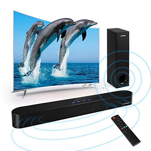 TV Soundbar mit Subwoofer Bluetooth 5.0 140W 2.1 Kanal Soundbar für TV Geräte Optical Aux RCA USB Anschluss mit Fernbedienung Berührungssteuerung für TV PC Laptop (Soundbar mit Subwoofer)