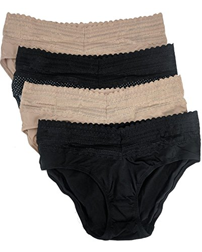 Warner's Womens No Pinches No Problems Hipster Panty 4-Pack, Large,Beige/White dot/Beige/Black