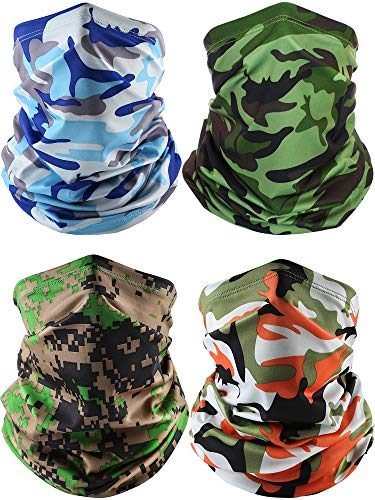 4 Pieces Summer Face Cover Scarf Neck Gaiter Cooling Sunblock Bandana (Camo Sky Blue, Camo Green, Camo Orange, Camo Army Green)