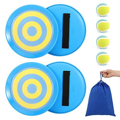 MoKo Klettball Set, Klettballspiel Fangballspiel Catchball Spiel mit 4 Handfängern und 4 Klettbällen Catch Ball Set Wurfspiel für Kinder Erwachsene - Blau