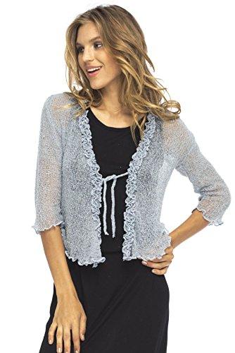 Back From Bali Womens Sheer Shrug Cardigan Sweater Ruffle Lightweight Knit Grey One Size
