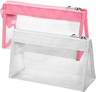 Clear Makeup Bag, BuyAgain 2 Pack Multi-purpose Transparent Waterproof Toiletry Bag with Zipper Travel Cosmetic Pouch Pink White