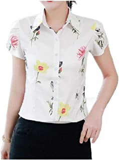 HEFASDM Womens Slim-Fit Casual Floral Printed T-Shirt Chiffon Blouse Top